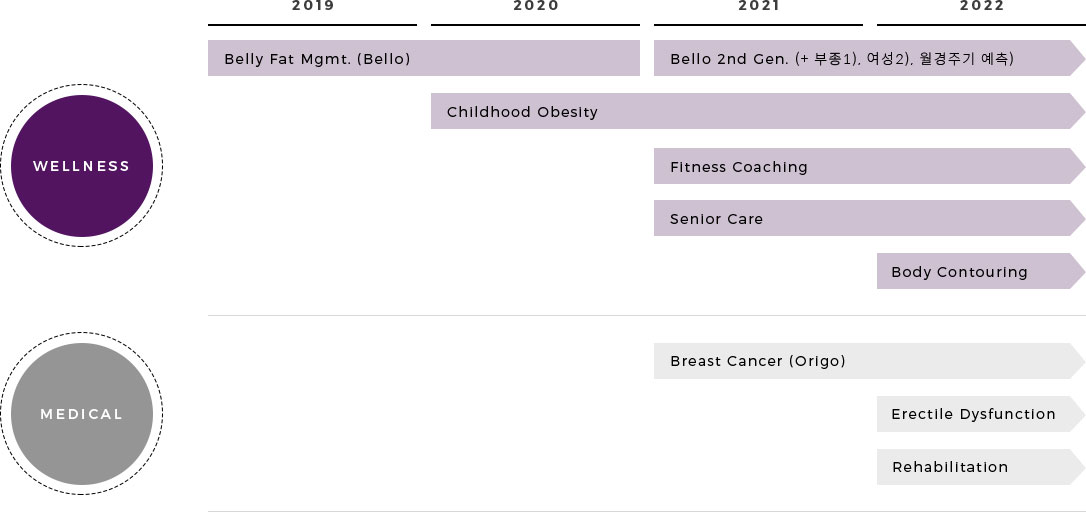 wellness- 2019~2020 belly fat mgmt.(bello), 2021~2022 bello 2nd gen (+ 부종1), 여성2), 월경주기 예, 2020~20 22 Childhood Obesity, 2021~2022 Fitness Coaching, Senior Care, 2022 Body Contouring